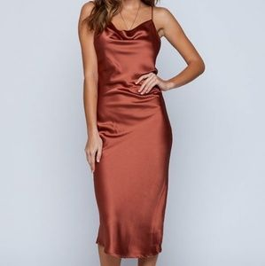 Dresses & Skirts - BOHO Bronze Brown Strappy Long Silk Slip On Dress